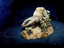 UNUSUAL HAND MADE HANDPAINTED BADGER IN DEN FIGURINE UNSIGNED